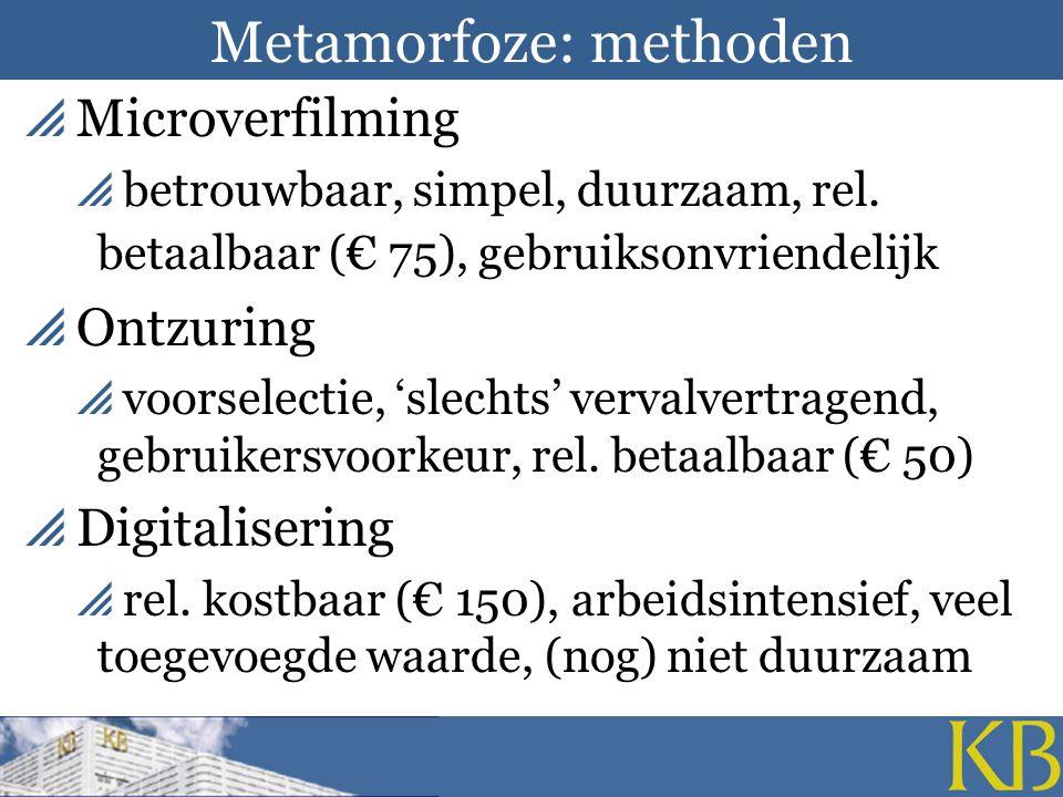 Metamorfoze: methoden  Microverfilming  betrouwbaar, simpel, duurzaam, rel.