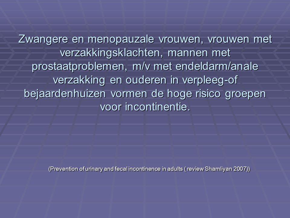 Zwangere en menopauzale vrouwen, vrouwen met verzakkingsklachten, mannen met prostaatproblemen, m/v met endeldarm/anale verzakking en ouderen in verpl