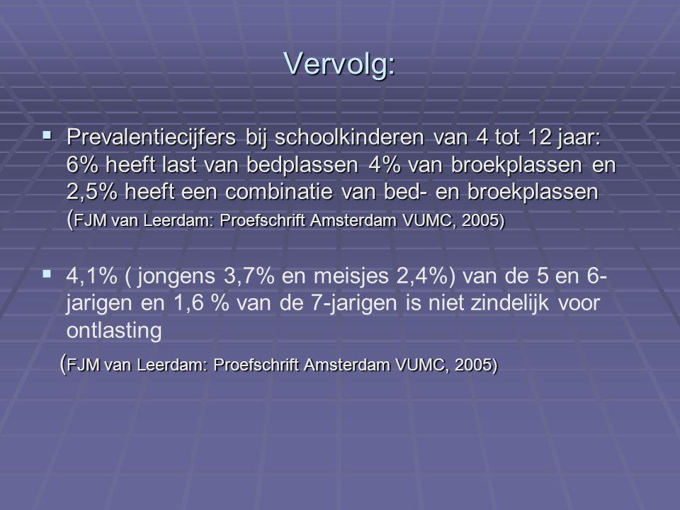 Vervolg:  Prevalentiecijfers bij schoolkinderen van 4 tot 12 jaar: 6% heeft last van bedplassen 4% van broekplassen en 2,5% heeft een combinatie van