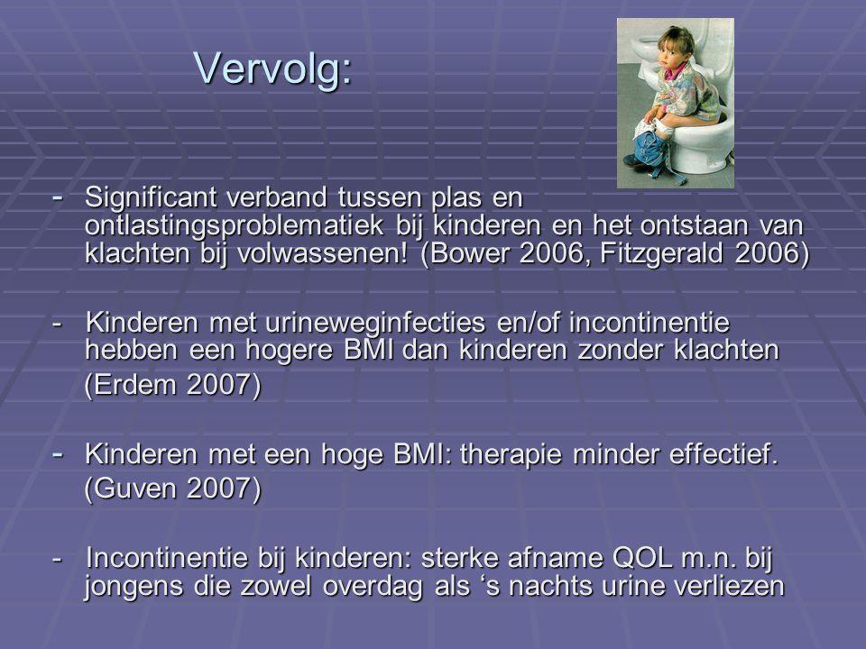 Vervolg: - Significant verband tussen plas en ontlastingsproblematiek bij kinderen en het ontstaan van klachten bij volwassenen! (Bower 2006, Fitzgera