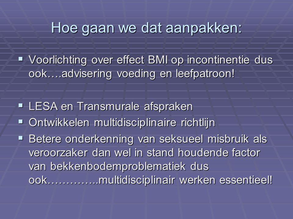 Hoe gaan we dat aanpakken:  Voorlichting over effect BMI op incontinentie dus ook….advisering voeding en leefpatroon!  LESA en Transmurale afspraken