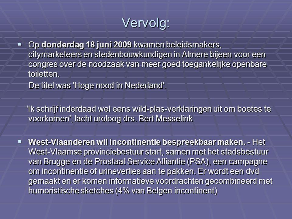 Vervolg:  Op donderdag 18 juni 2009 kwamen beleidsmakers, citymarketeers en stedenbouwkundigen in Almere bijeen voor een congres over de noodzaak van