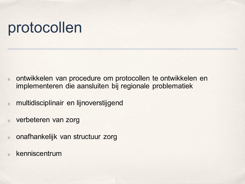 protocollen ontwikkelen van procedure om protocollen te ontwikkelen en implementeren die aansluiten bij regionale problematiek multidisciplinair en li