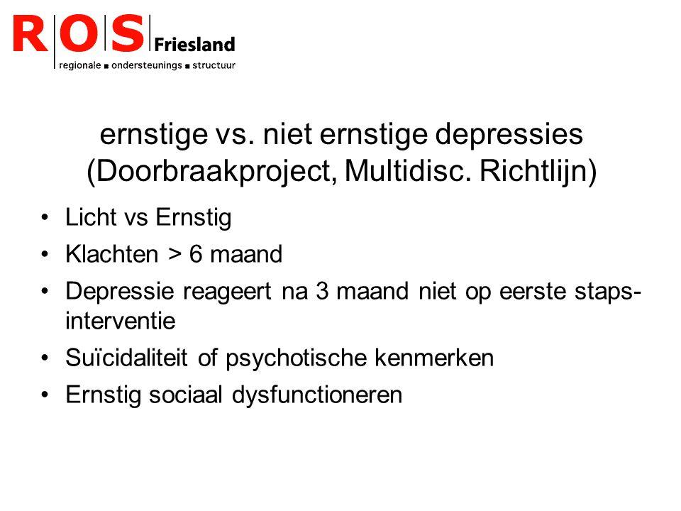 ernstige vs.niet ernstige depressies (Doorbraakproject, Multidisc.