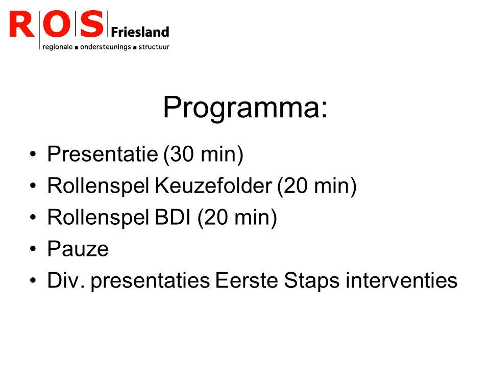 Programma: Presentatie (30 min) Rollenspel Keuzefolder (20 min) Rollenspel BDI (20 min) Pauze Div.