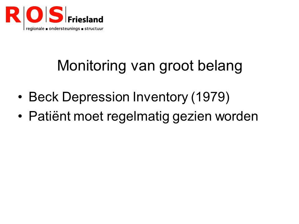 Monitoring van groot belang Beck Depression Inventory (1979) Patiënt moet regelmatig gezien worden