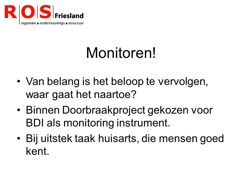 Monitoren! Van belang is het beloop te vervolgen, waar gaat het naartoe? Binnen Doorbraakproject gekozen voor BDI als monitoring instrument. Bij uitst