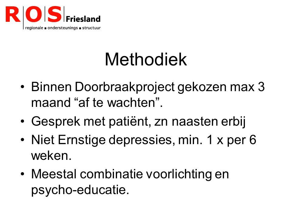 """Methodiek Binnen Doorbraakproject gekozen max 3 maand """"af te wachten"""". Gesprek met patiënt, zn naasten erbij Niet Ernstige depressies, min. 1 x per 6"""