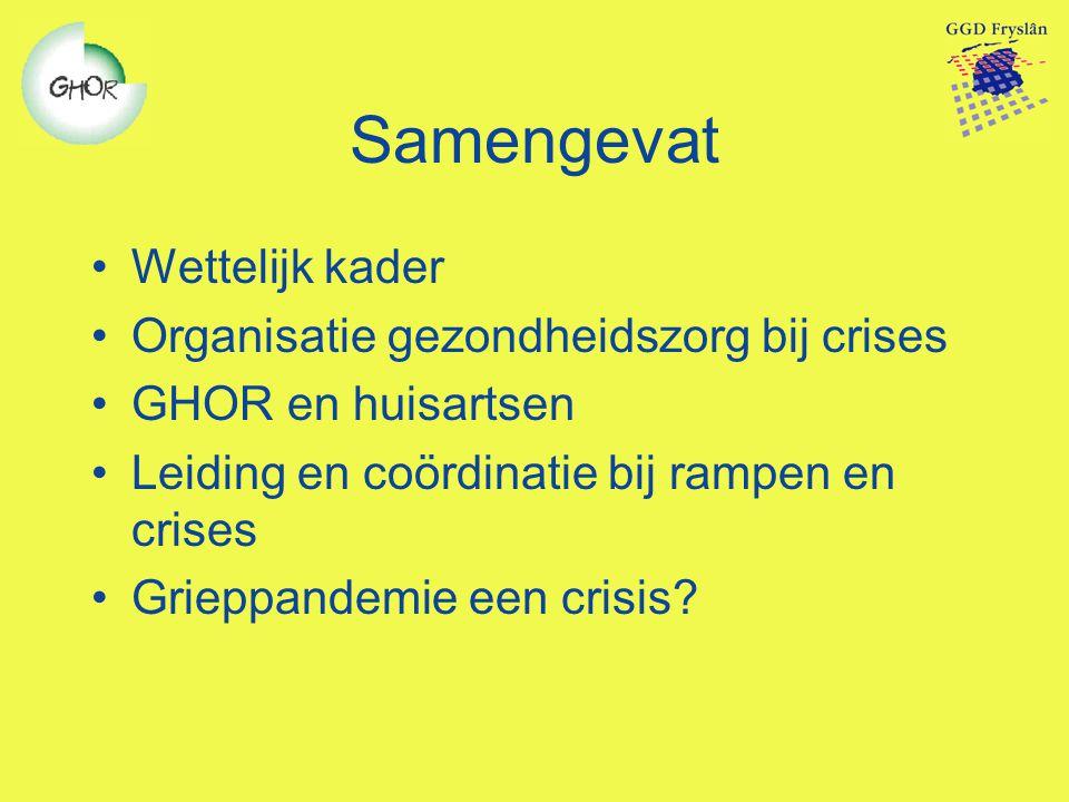 Samengevat Wettelijk kader Organisatie gezondheidszorg bij crises GHOR en huisartsen Leiding en coördinatie bij rampen en crises Grieppandemie een cri