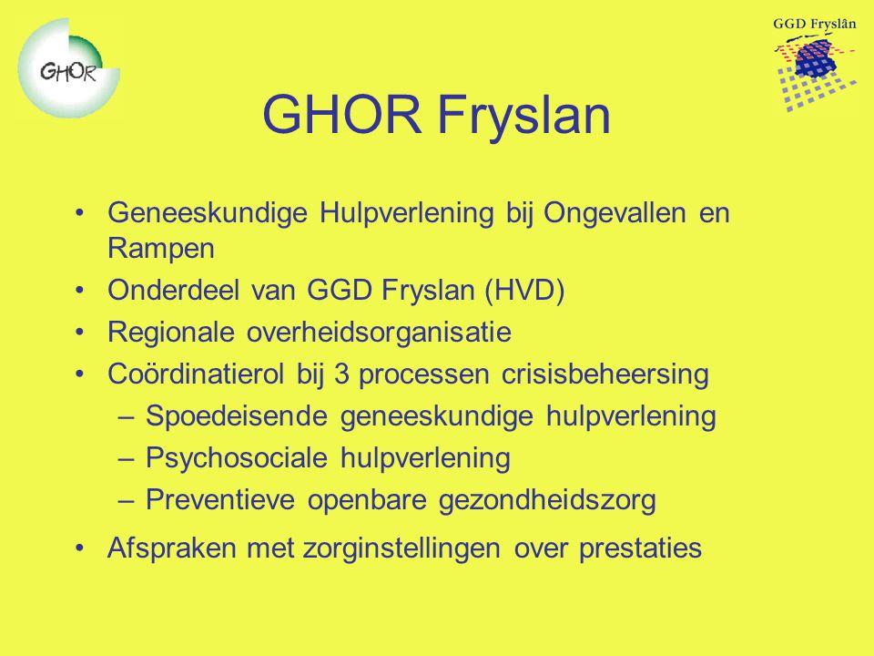 GHOR Fryslan Geneeskundige Hulpverlening bij Ongevallen en Rampen Onderdeel van GGD Fryslan (HVD) Regionale overheidsorganisatie Coördinatierol bij 3