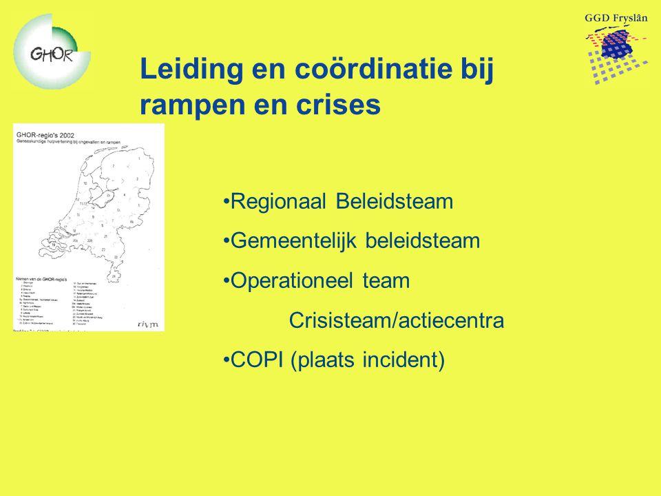 Leiding en coördinatie bij rampen en crises Regionaal Beleidsteam Gemeentelijk beleidsteam Operationeel team Crisisteam/actiecentra COPI (plaats incid