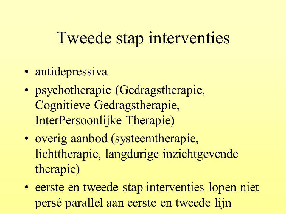 Tweede stap interventies antidepressiva psychotherapie (Gedragstherapie, Cognitieve Gedragstherapie, InterPersoonlijke Therapie) overig aanbod (systee
