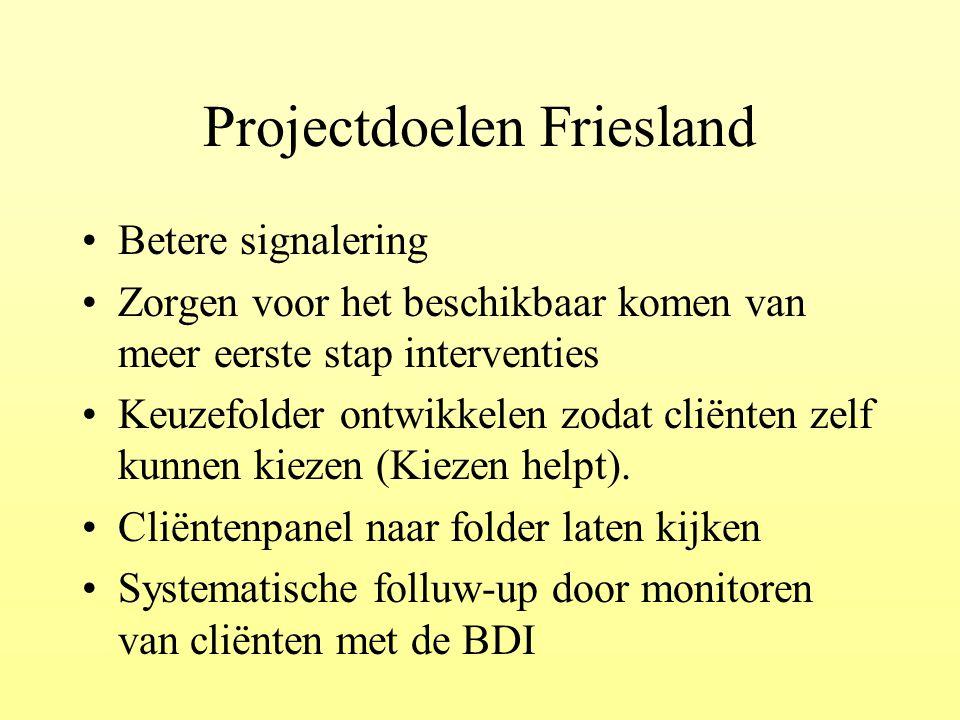 Projectdoelen Friesland Betere signalering Zorgen voor het beschikbaar komen van meer eerste stap interventies Keuzefolder ontwikkelen zodat cliënten