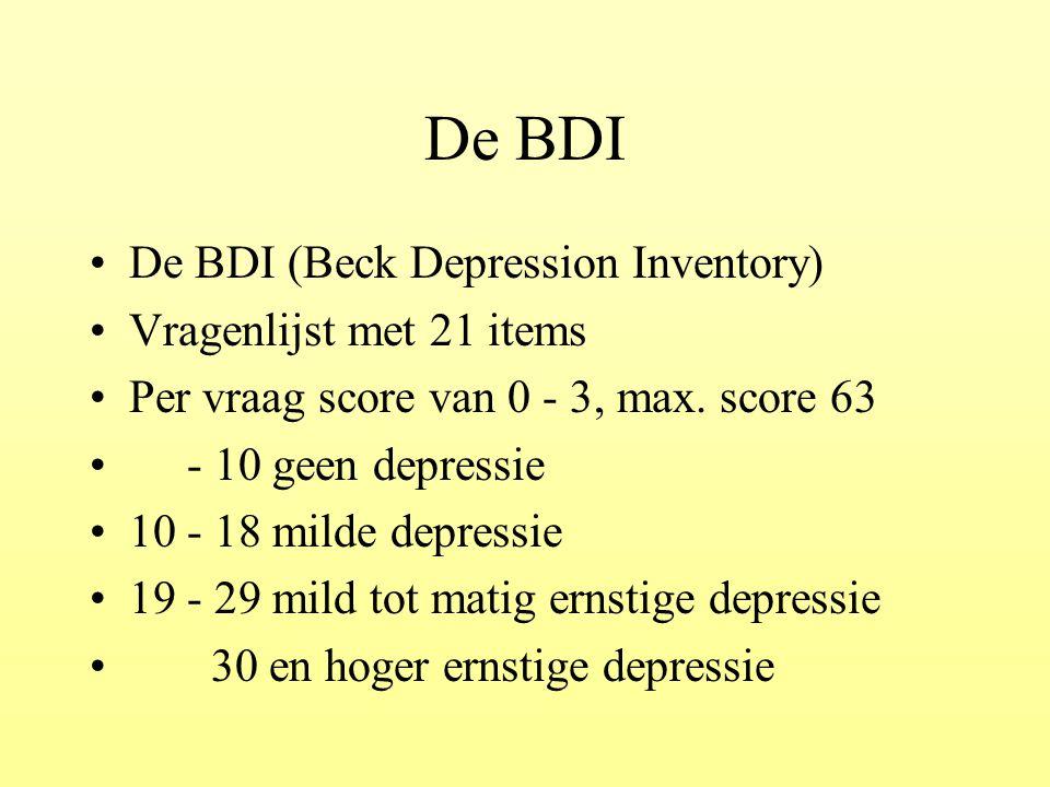 De BDI De BDI (Beck Depression Inventory) Vragenlijst met 21 items Per vraag score van 0 - 3, max. score 63 - 10 geen depressie 10 - 18 milde depressi