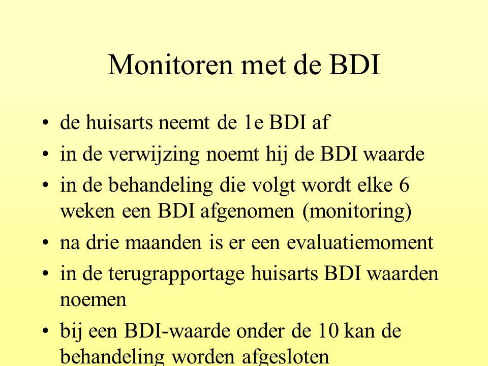 Monitoren met de BDI de huisarts neemt de 1e BDI af in de verwijzing noemt hij de BDI waarde in de behandeling die volgt wordt elke 6 weken een BDI af