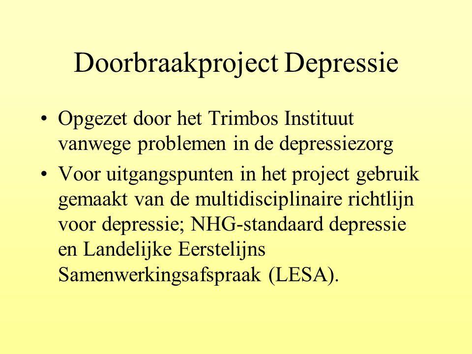 Doorbraakproject Depressie Opgezet door het Trimbos Instituut vanwege problemen in de depressiezorg Voor uitgangspunten in het project gebruik gemaakt