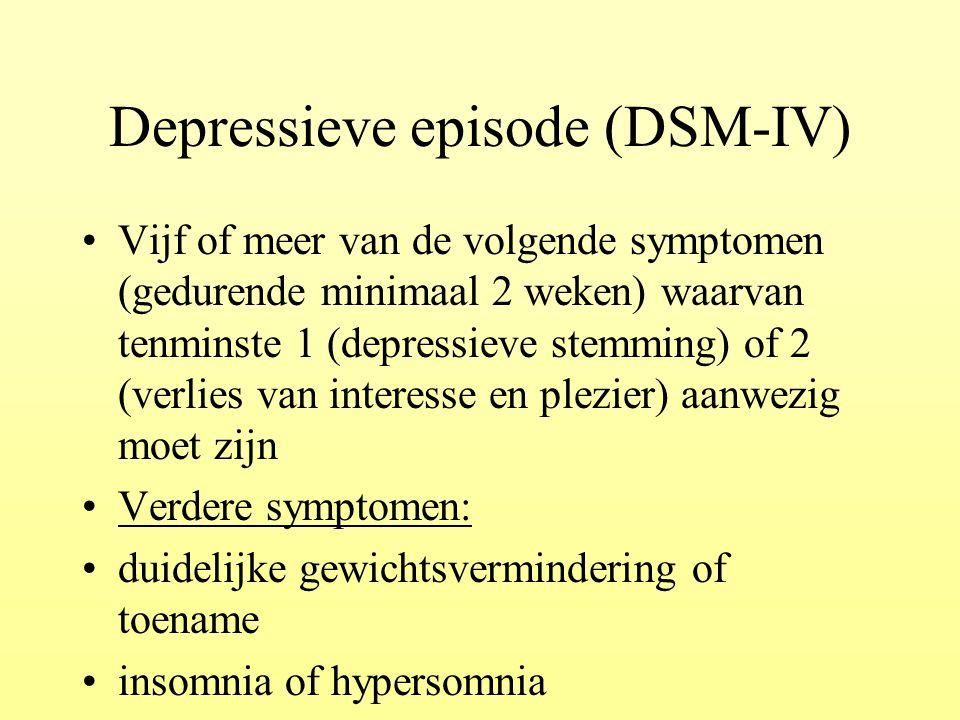 Depressieve episode (DSM-IV) Vijf of meer van de volgende symptomen (gedurende minimaal 2 weken) waarvan tenminste 1 (depressieve stemming) of 2 (verl
