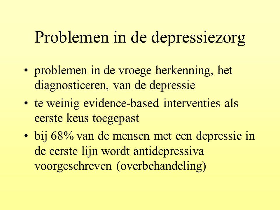 Problemen in de depressiezorg problemen in de vroege herkenning, het diagnosticeren, van de depressie te weinig evidence-based interventies als eerste