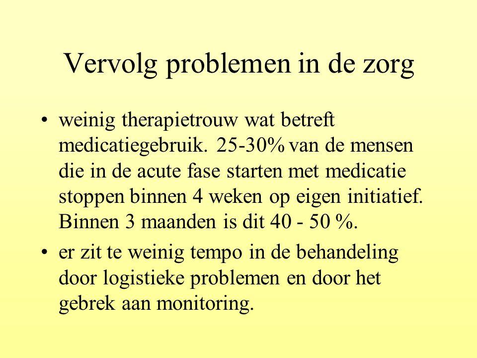 Vervolg problemen in de zorg weinig therapietrouw wat betreft medicatiegebruik. 25-30% van de mensen die in de acute fase starten met medicatie stoppe