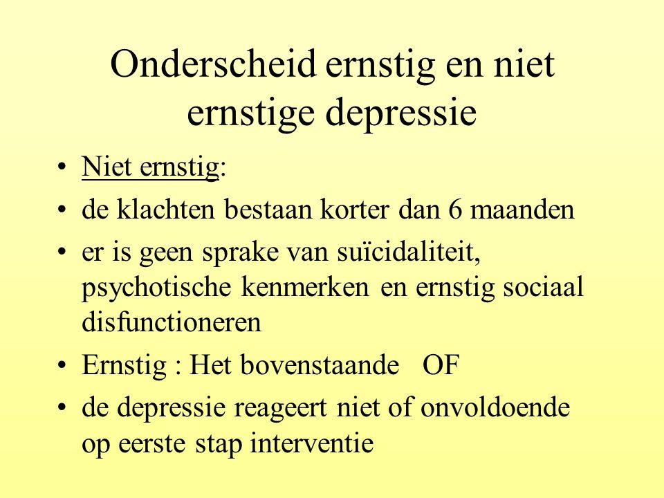 Onderscheid ernstig en niet ernstige depressie Niet ernstig: de klachten bestaan korter dan 6 maanden er is geen sprake van suïcidaliteit, psychotisch