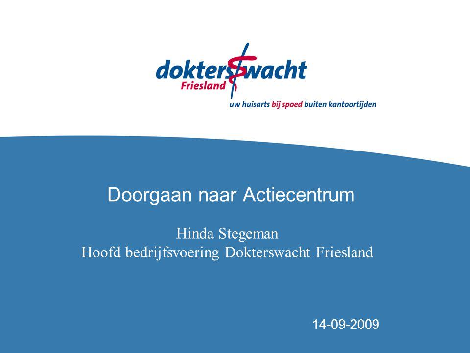 Doorgaan naar Actiecentrum 14-09-2009 Hinda Stegeman Hoofd bedrijfsvoering Dokterswacht Friesland