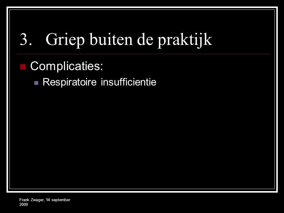 Frank Zwager, 14 september 2009 3.Griep buiten de praktijk Complicaties: Respiratoire insufficientie
