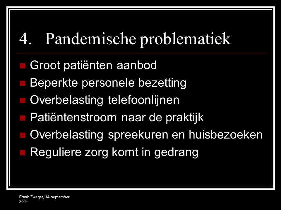 Frank Zwager, 14 september 2009 4.Pandemische problematiek Groot patiënten aanbod Beperkte personele bezetting Overbelasting telefoonlijnen Patiëntenstroom naar de praktijk Overbelasting spreekuren en huisbezoeken Reguliere zorg komt in gedrang