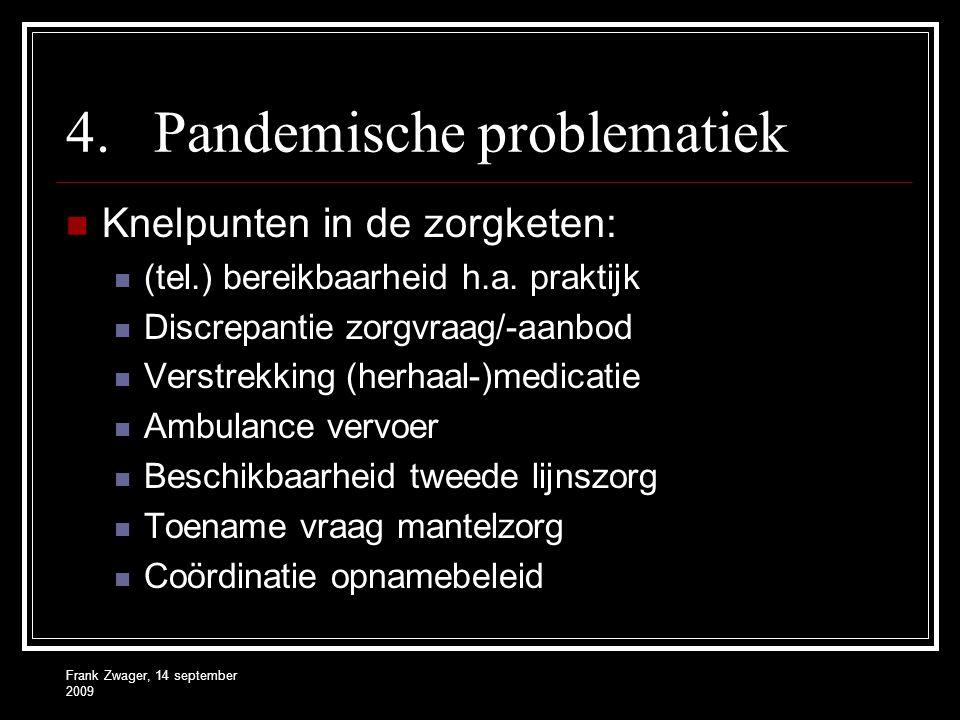 Frank Zwager, 14 september 2009 4.Pandemische problematiek Knelpunten in de zorgketen: (tel.) bereikbaarheid h.a. praktijk Discrepantie zorgvraag/-aan