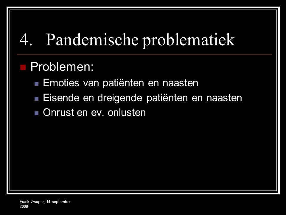 Frank Zwager, 14 september 2009 4.Pandemische problematiek Problemen: Emoties van patiënten en naasten Eisende en dreigende patiënten en naasten Onrus