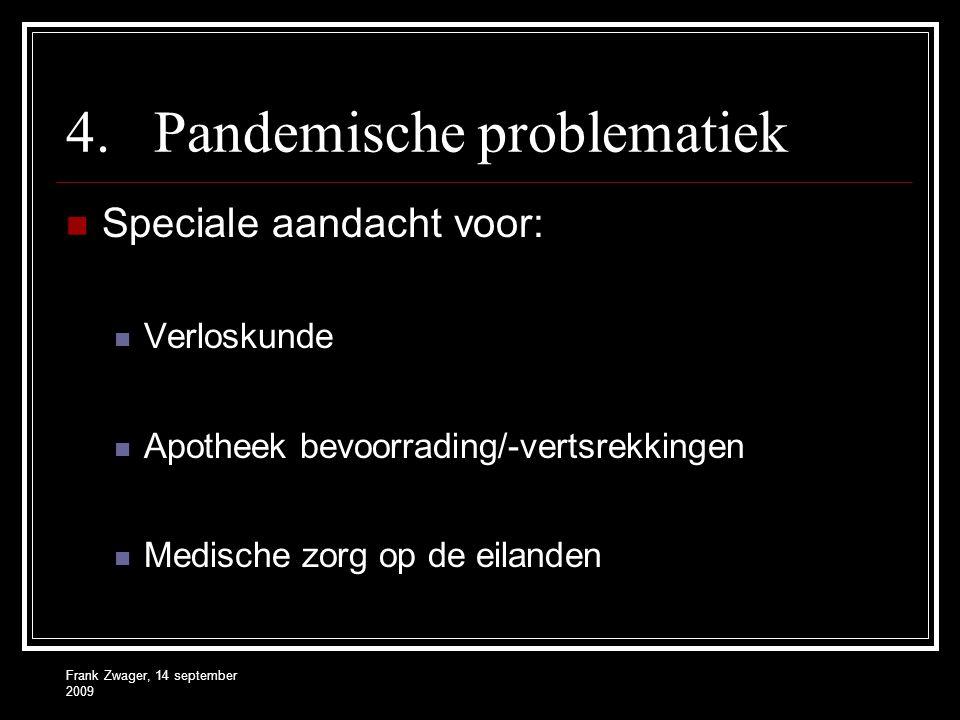 Frank Zwager, 14 september 2009 4.Pandemische problematiek Speciale aandacht voor: Verloskunde Apotheek bevoorrading/-vertsrekkingen Medische zorg op