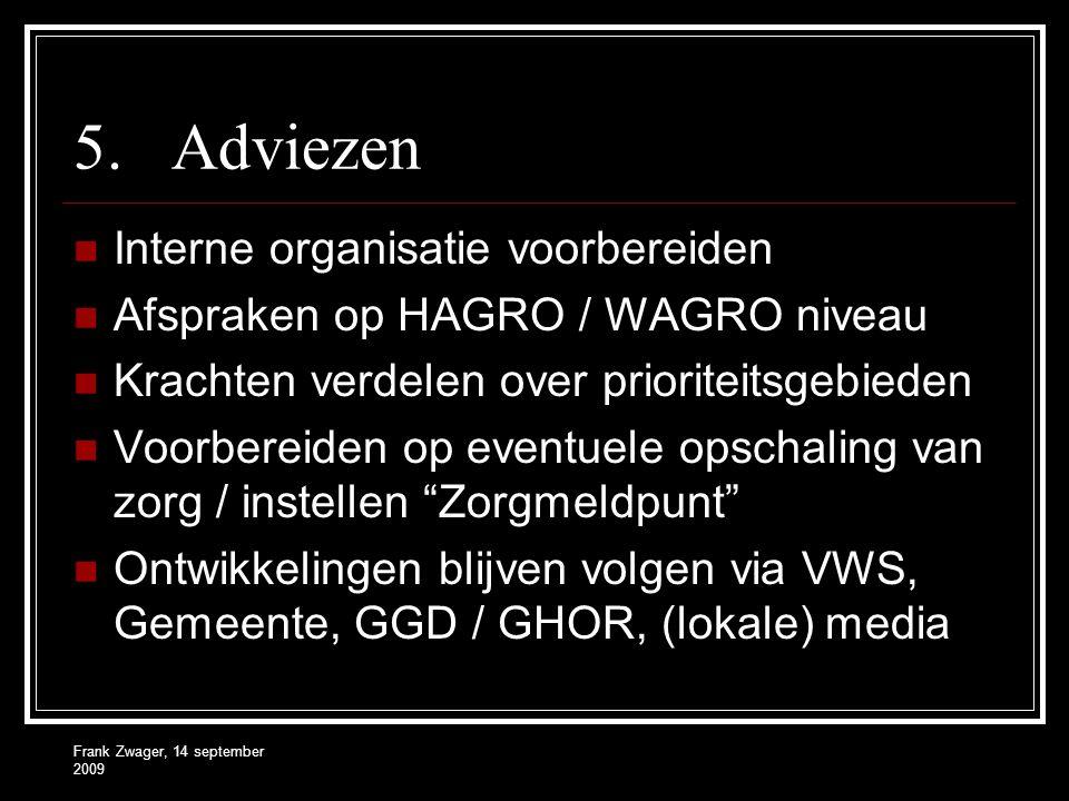 Frank Zwager, 14 september 2009 5.Adviezen Interne organisatie voorbereiden Afspraken op HAGRO / WAGRO niveau Krachten verdelen over prioriteitsgebieden Voorbereiden op eventuele opschaling van zorg / instellen Zorgmeldpunt Ontwikkelingen blijven volgen via VWS, Gemeente, GGD / GHOR, (lokale) media