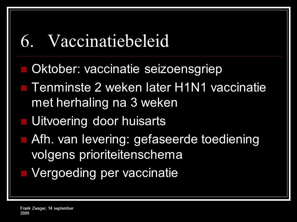 6.Vaccinatiebeleid Oktober: vaccinatie seizoensgriep Tenminste 2 weken later H1N1 vaccinatie met herhaling na 3 weken Uitvoering door huisarts Afh. va