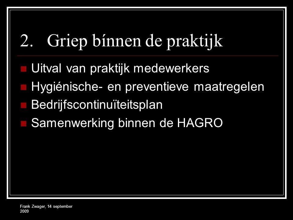 Frank Zwager, 14 september 2009 2.Griep bínnen de praktijk Uitval van praktijk medewerkers Hygiénische- en preventieve maatregelen Bedrijfscontinuïteitsplan Samenwerking binnen de HAGRO