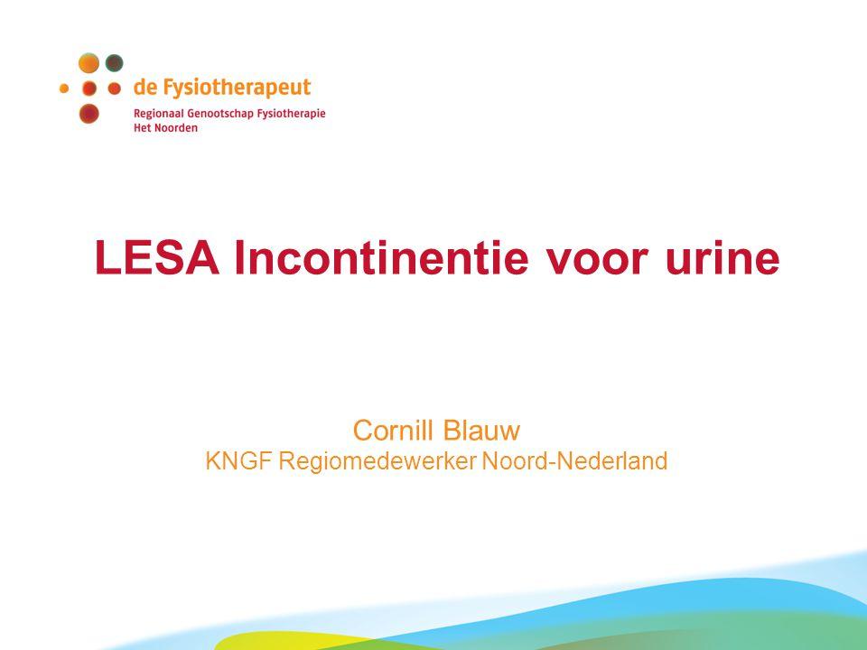 LESA Incontinentie voor urine Cornill Blauw KNGF Regiomedewerker Noord-Nederland