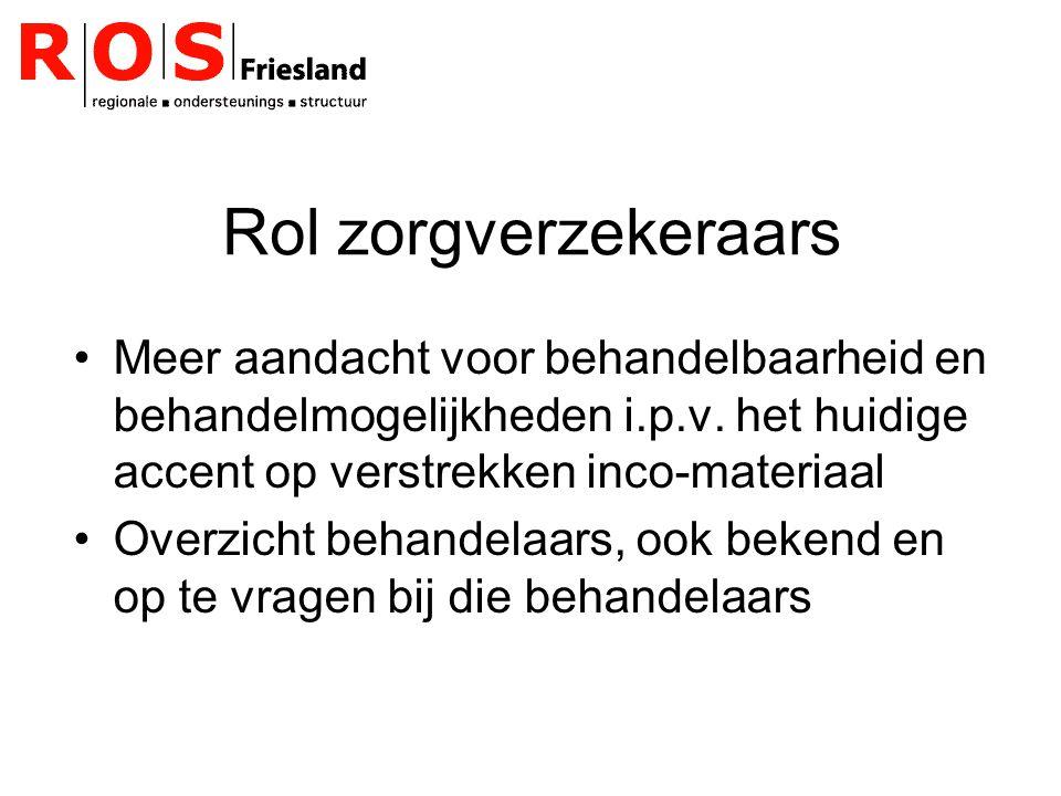 Rol zorgverzekeraars Meer aandacht voor behandelbaarheid en behandelmogelijkheden i.p.v.