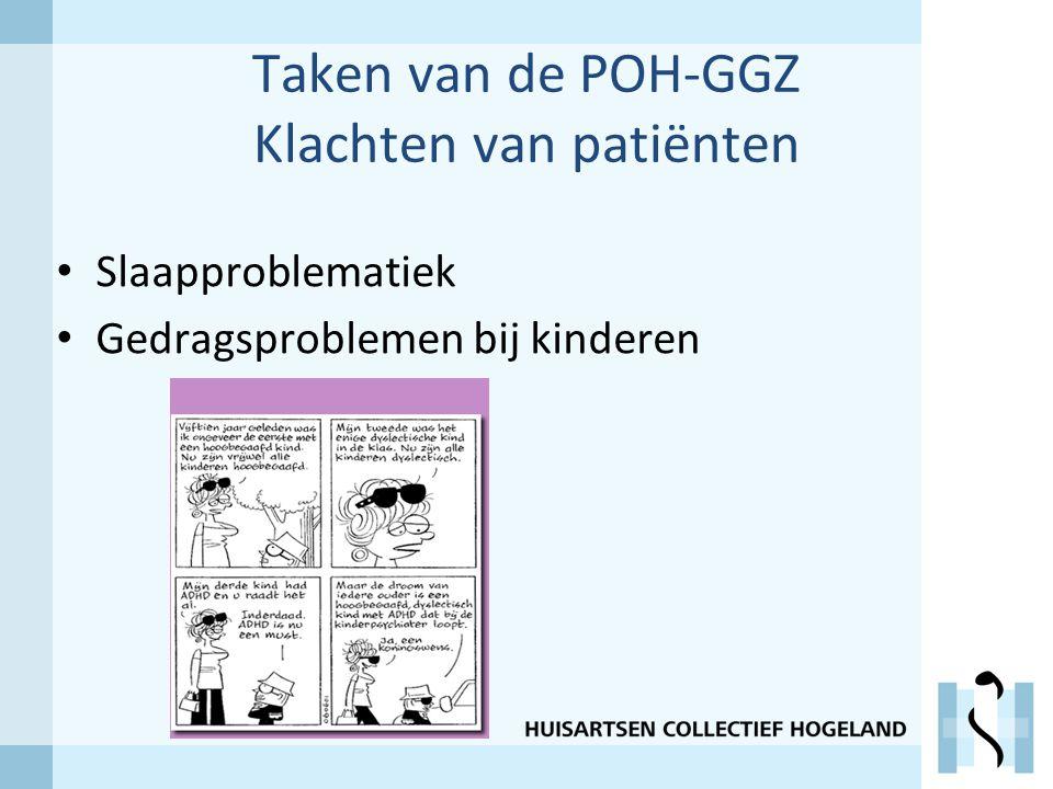 Taken van de POH-GGZ Klachten van patiënten Slaapproblematiek Gedragsproblemen bij kinderen