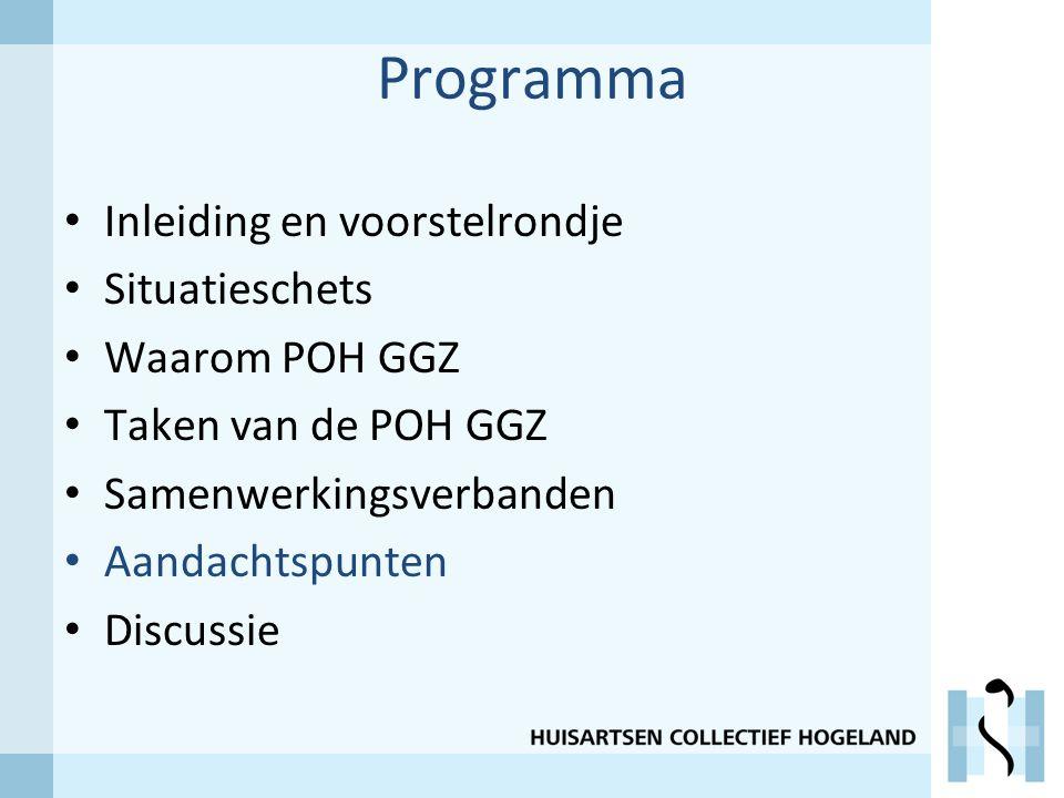 Programma Inleiding en voorstelrondje Situatieschets Waarom POH GGZ Taken van de POH GGZ Samenwerkingsverbanden Aandachtspunten Discussie