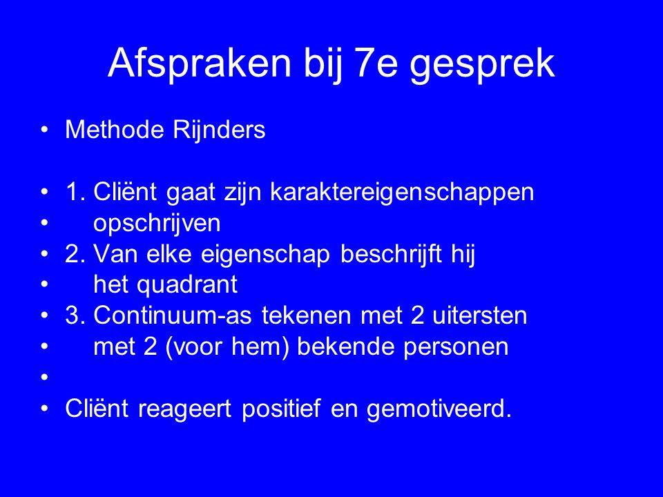 Afspraken bij 7e gesprek Methode Rijnders 1. Cliënt gaat zijn karaktereigenschappen opschrijven 2. Van elke eigenschap beschrijft hij het quadrant 3.