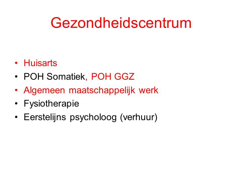 Gezondheidscentrum Huisarts POH Somatiek, POH GGZ Algemeen maatschappelijk werk Fysiotherapie Eerstelijns psycholoog (verhuur)