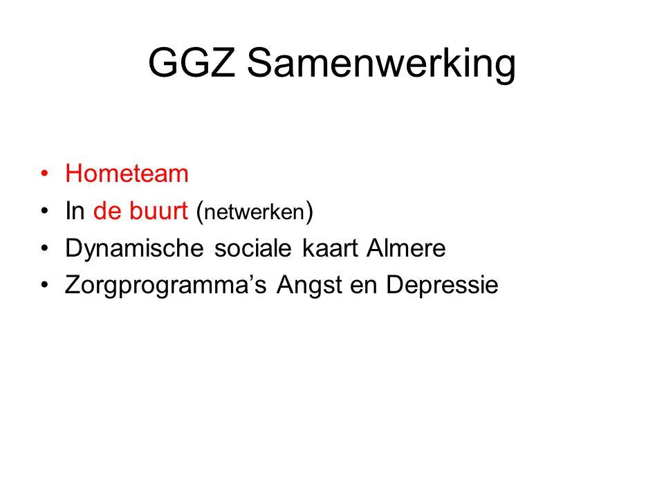GGZ Samenwerking Hometeam In de buurt ( netwerken ) Dynamische sociale kaart Almere Zorgprogramma's Angst en Depressie
