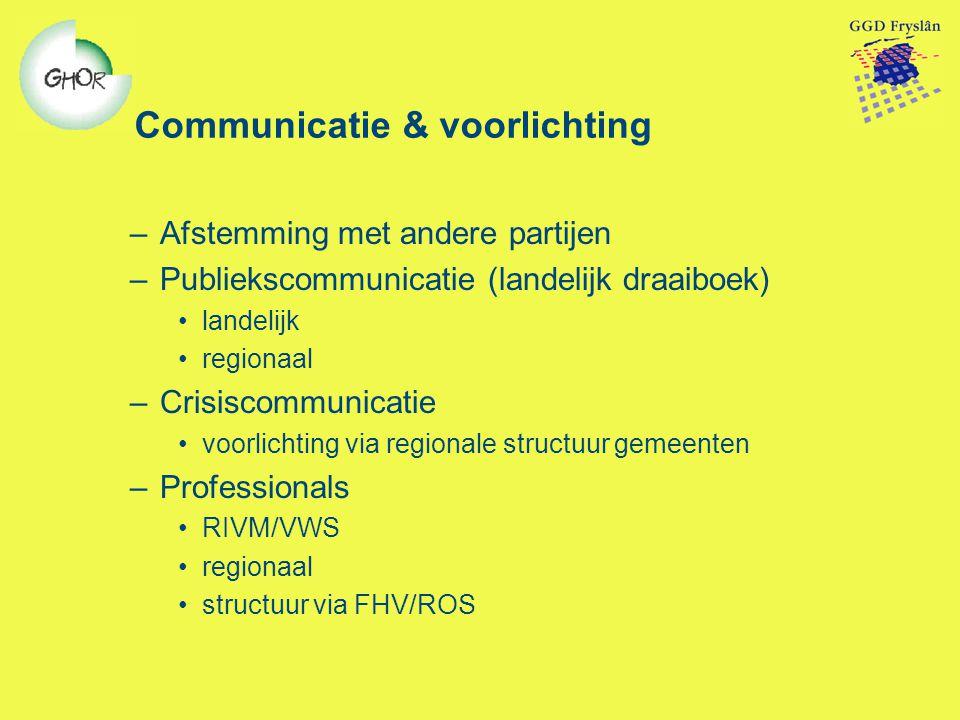 Communicatie & voorlichting –Afstemming met andere partijen –Publiekscommunicatie (landelijk draaiboek) landelijk regionaal –Crisiscommunicatie voorli