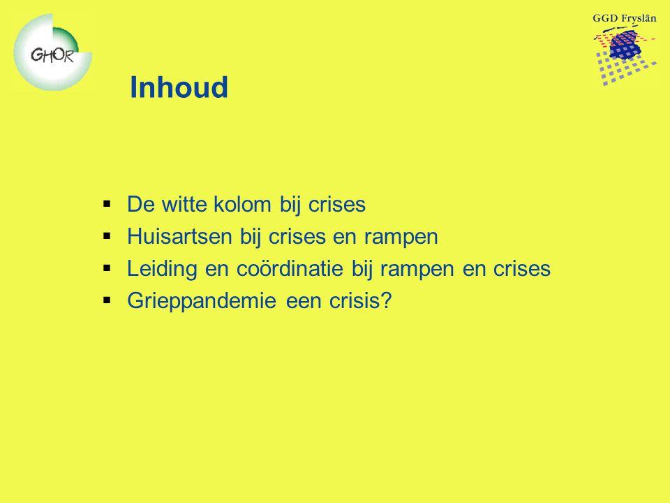 Inhoud  De witte kolom bij crises  Huisartsen bij crises en rampen  Leiding en coördinatie bij rampen en crises  Grieppandemie een crisis?