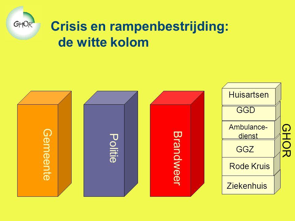 Crisis en rampenbestrijding: de witte kolom Gemeente Brandweer Politie Ambulance- dienst GGD GGZ Rode Kruis Ziekenhuis GHOR Huisartsen