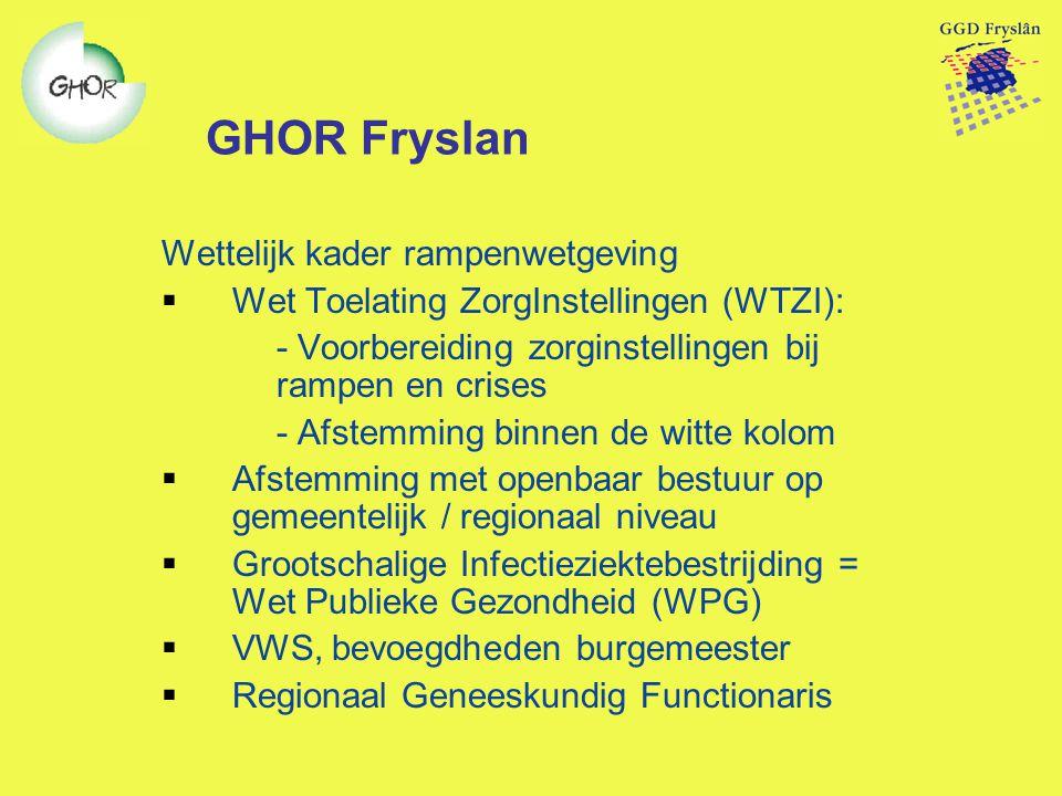 GHOR Fryslan Wettelijk kader rampenwetgeving  Wet Toelating ZorgInstellingen (WTZI): - Voorbereiding zorginstellingen bij rampen en crises - Afstemmi