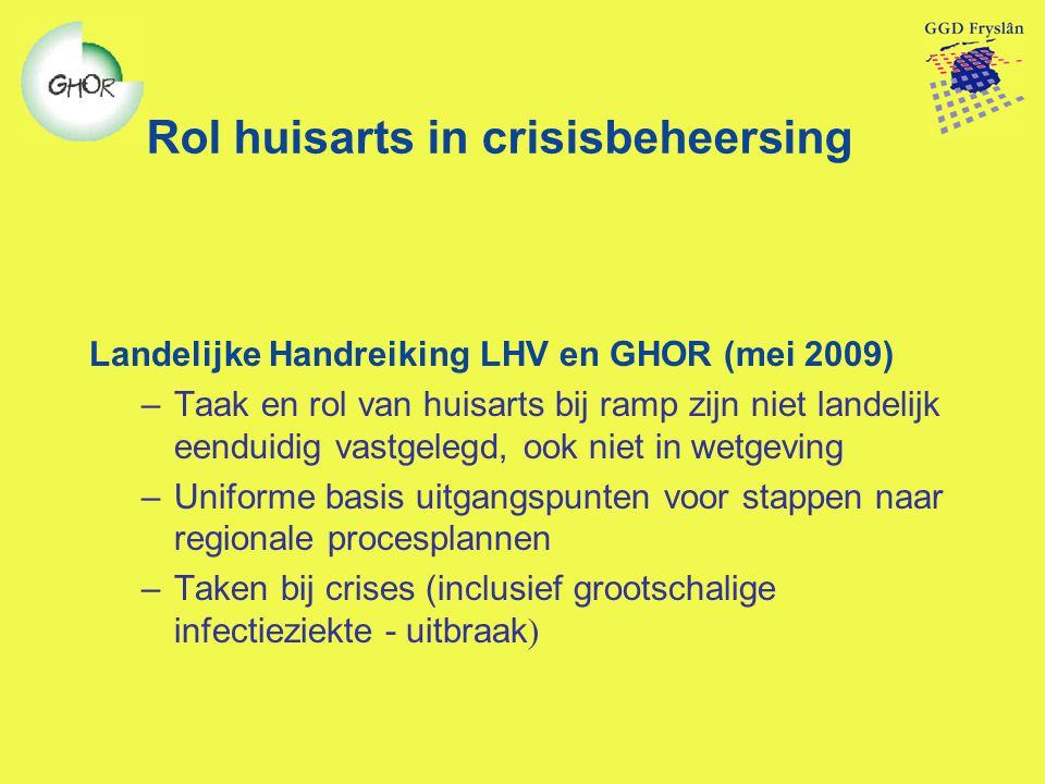 Rol huisarts in crisisbeheersing Landelijke Handreiking LHV en GHOR (mei 2009) –Taak en rol van huisarts bij ramp zijn niet landelijk eenduidig vastge