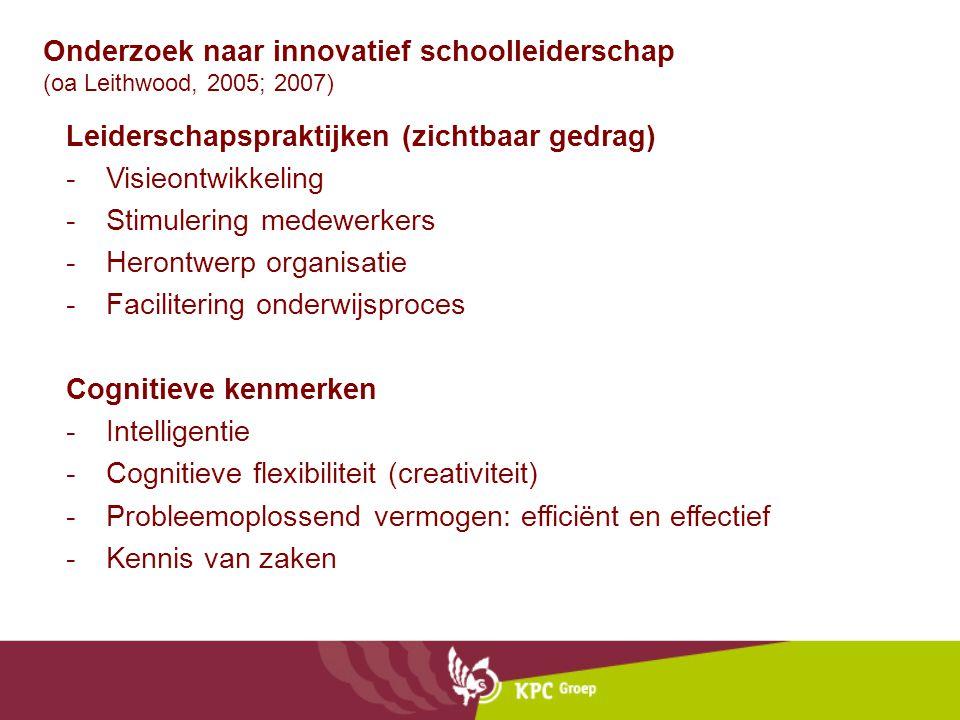 Onderzoek naar innovatief schoolleiderschap (oa Leithwood, 2005; 2007) Leiderschapspraktijken (zichtbaar gedrag) -Visieontwikkeling -Stimulering medew
