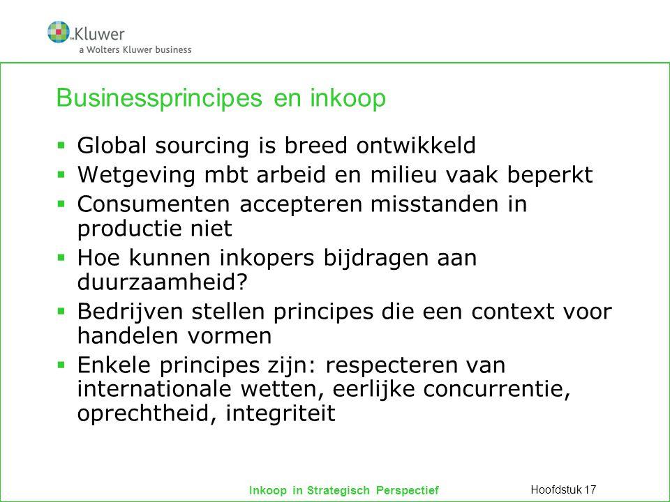 Inkoop in Strategisch Perspectief Businessprincipes en inkoop  Global sourcing is breed ontwikkeld  Wetgeving mbt arbeid en milieu vaak beperkt  Co