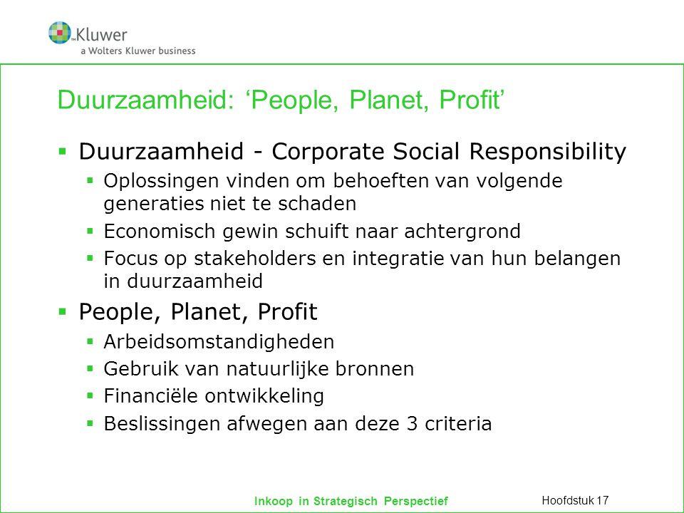 Inkoop in Strategisch Perspectief Duurzaamheid: 'People, Planet, Profit'  Duurzaamheid - Corporate Social Responsibility  Oplossingen vinden om beho