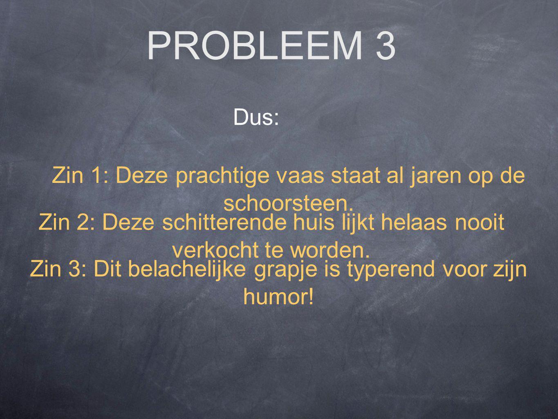 PROBLEEM 3 Dus: Zin 3: Dit belachelijke grapje is typerend voor zijn humor.