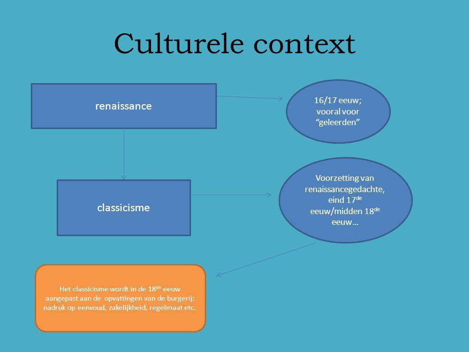 """Culturele context renaissance 16/17 eeuw; vooral voor """"geleerden"""" classicisme Voorzetting van renaissancegedachte, eind 17 de eeuw/midden 18 de eeuw…"""